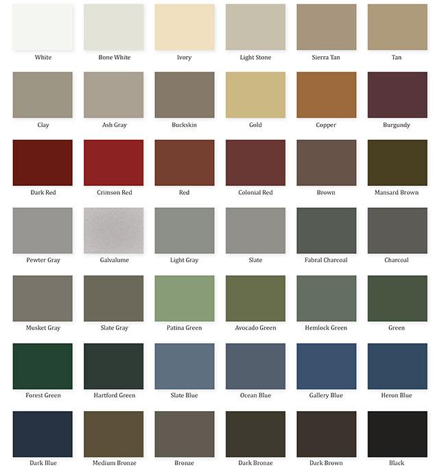 Snow Guard Color Chart Levi S Building Components